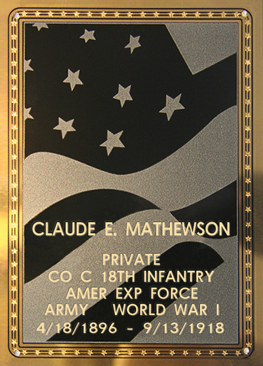 Claude E. Mathewson Plaque